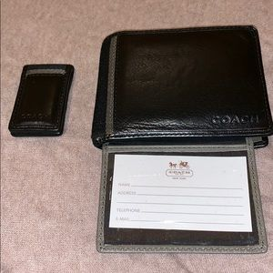 Men's Coach leather wallet w/ matching money clip
